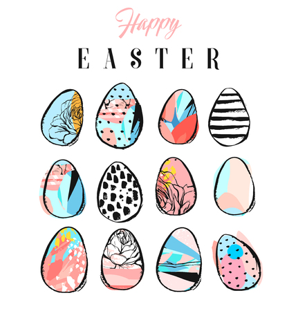 Hand made vector abstract collage textured colored Easter eggs collection set isolated on white background.Easter design decoration elements