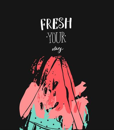 Hand drawn vector abstract freehand textured fun watermelon card template with modern handwritten calligraphy quote Fresh Your Day isolated on black background