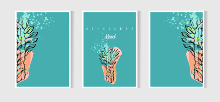 Hand drawn vector abstract Save the Date greeting card collection set template with succulent,cactus plant and freehand texture in pastel color.Design for wedding,journaling,birthday,invitation,flayer
