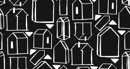 scandinavian geometric pattern vector background. houses scandinavian seamless pattern Banque d'images - 113691910