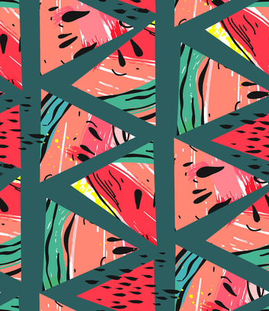 Hand drawn vector abstract collage seamless pattern with watermelon motif and triangle hipster shapes isolated on green background