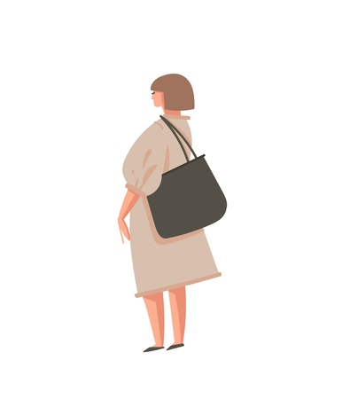 Hand drawn vector abstract cartoon graphic illustrations art with girl person with zero wastle bag isolated on white background. Illustration