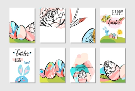 Hand drawn vector abstract creative Easter greeting card design collection set template with flowers,Easter eggs and bunny in pastel colors isolated on white background