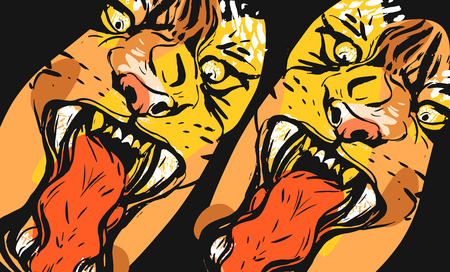 Hand drawn vector abstract graphic freehand textured sketch ink drawing of tigers faces in orange colors collage isolated on black background Archivio Fotografico - 113691923