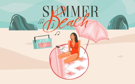 Handgezeichnete Vektor abstrakte Cartoon Sommerzeit grafische Illustrationen Kunst Vorlage Hintergrund mit Ozean Strand Landschaft, rosa Sonnenuntergang, Mädchen und Sommer Strand Typografie Text.