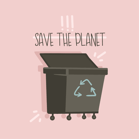 Hand drawn vector abstract cartoon modern graphic illustrations art card with zero wastle concept text Save the Planet and trash can isolated on pink background. Foto de archivo - 114045946