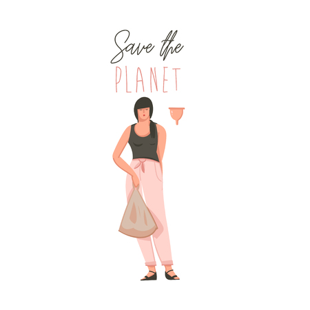 Hand drawn vector abstract cartoon modern graphic illustrations art card with cute girl and Save the planet text concept isolated on white background.