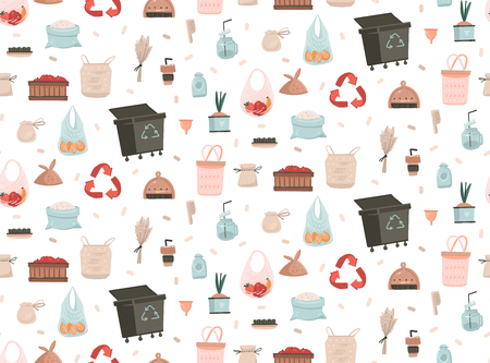 Hand drawn vector abstract cartoon modern graphic illustrations art seamless pattern with Zero Waste and Save Planet illustrations concept isolated on white background.
