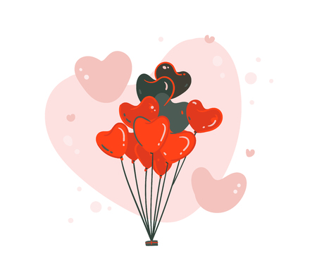 Hand drawn vector abstract cartoon modern graphic Happy Valentines day concept illustrations art card with flying heart shape air ballons in red colors isolated on white background.