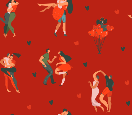 Hand drawn vector abstract cartoon modern graphic Happy Valentines day concept illustrations art seamless pattern with dancing couples people together and hearts isolated on red color background