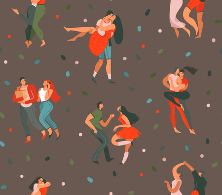 Hand drawn vector abstract cartoon modern graphic Happy Valentines day concept illustrations art seamless pattern with dancing couples people together isolated on brown color background. Illustration