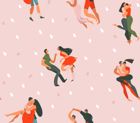 Hand drawn vector abstract cartoon modern graphic Happy Valentines day concept illustrations art seamless pattern with dancing couples people together isolated on pink pastel color background.
