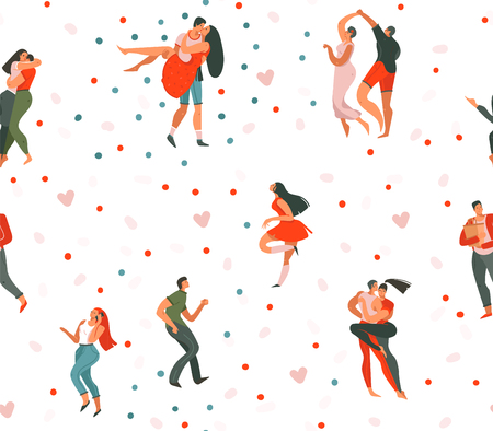 Hand drawn vector abstract cartoon modern graphic Happy Valentines day concept illustrations art seamless pattern with dancing couples people together and hearts isolated on white background.