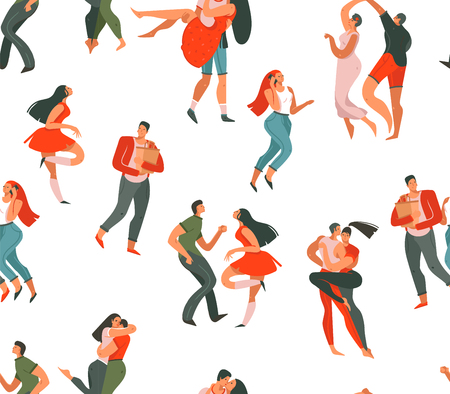 Hand drawn vector abstract cartoon modern graphic Happy Valentines day concept illustrations art seamless pattern with dancing couples people together isolated on white background. Stock Illustratie