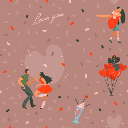 Hand drawn vector abstract cartoon modern graphic Happy Valentines day concept illustrations art seamless pattern with dancing couples people together isolated on pink pastel color background. Фото со стока - 114549806