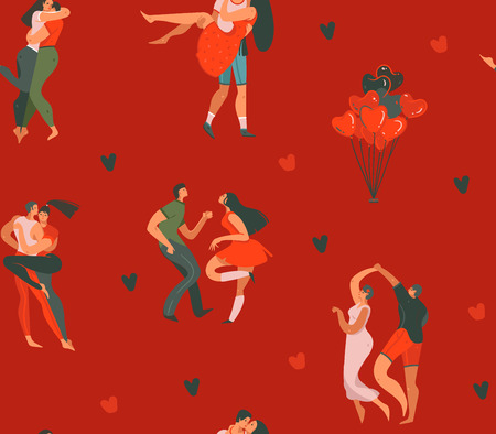 Hand drawn vector abstract cartoon modern graphic Happy Valentines day concept illustrations art seamless pattern with dancing couples people together and hearts isolated on red color background.