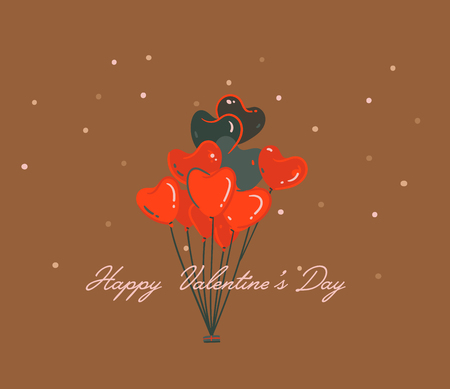 Hand drawn vector abstract cartoon modern graphic Happy Valentines day concept illustrations art card with heart hot air balloons and Valentines day text isolated on brown colored background Ilustracja