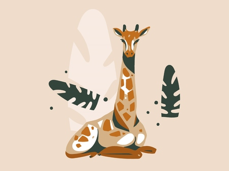 Hand drawn vector abstract cartoon modern graphic African Safari Nature concept illustrations art card with giraffe animal and tropical palm leaves isolated on pastel color background. Illustration