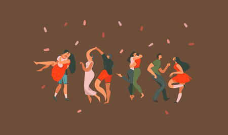 Hand drawn vector abstract cartoon modern graphic Happy Valentines day concept illustrations art card with dancing couples people together isolated on colored background. Illustration