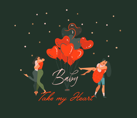 Hand drawn vector abstract cartoon modern graphic Happy Valentines day concept illustrations card with dancing couples people together and Baby take my Heart text isolated on black color background. Imagens - 115004410
