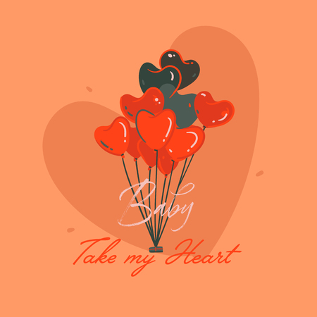 Hand drawn vector abstract cartoon modern graphic Happy Valentines day concept illustrations art card with hearts hot air baloons and Baby take my heart text isolated on orange background.