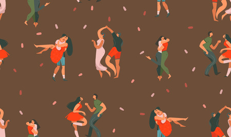 Hand drawn vector abstract cartoon modern graphic Happy Valentines day concept illustrations art seamless pattern with dancing couples people together isolated on brown color background. Stock Illustratie