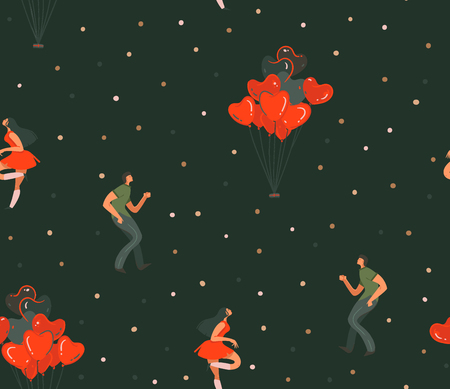 Hand drawn vector abstract cartoon modern graphic Happy Valentines day concept illustrations art seamless pattern with dancing couples people together isolated on black color background. 스톡 콘텐츠 - 115004423