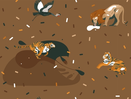 Hand drawn vector abstract cartoon modern graphic African Safari Nature illustrations art collage seamless pattern with tigers,lion,crane bird and animals isolated on color brown background. 写真素材 - 115004430