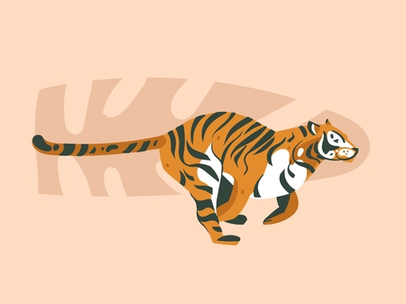 Hand drawn vector abstract cartoon modern graphic African Safari Nature concept collage illustrations art card with tiger animal and tropical palm leaves isolated on pastel color background