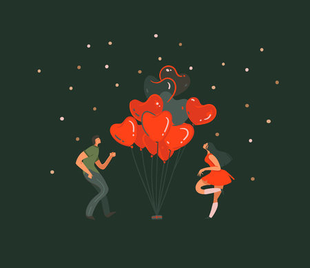 Hand drawn vector abstract cartoon modern graphic Happy Valentines day concept illustrations art card with dancing couples people together,hearts hot air baloons isolated on black background