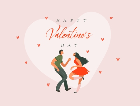 Hand drawn vector abstract cartoon modern graphic Happy Valentines concept illustrations art card with dancing couple people together and Happy Valentines day text isolated on pink pastel background Illustration