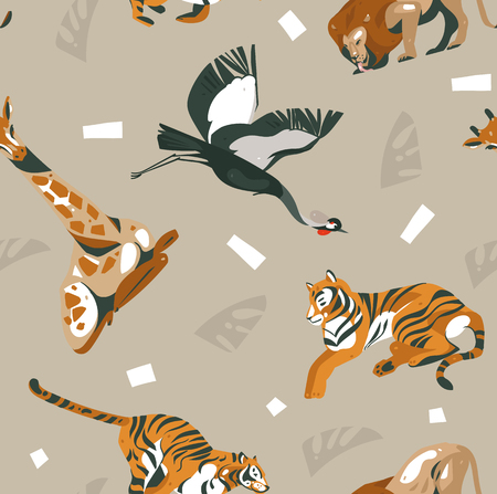 Hand drawn vector abstract modern graphic African Safari Nature ornamental tribal illustrations art collage seamless pattern with tigers,lion,crane bird and palm leaves isolated on pastel background Illustration