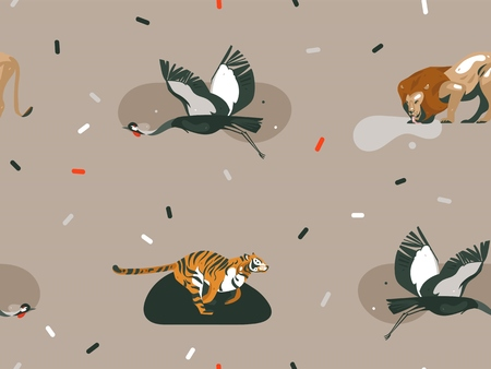 Hand drawn vector abstract cartoon modern graphic African Safari Nature illustrations art collage seamless pattern with tigers,lion,crane bird isolated on color brown background
