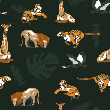 Hand drawn vector abstract cartoon modern graphic African Safari Nature illustrations art collage seamless pattern with tigers,lion,crane bird and tropical palm leaves isolated on black background