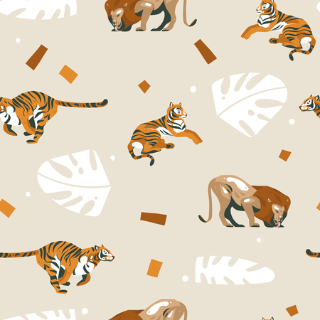 Hand drawn vector abstract cartoon modern graphic African Safari Nature ornamental tribal illustrations art collage seamless pattern with tigers,lion and palm leaves isolated on pastel background 스톡 콘텐츠 - 115608901
