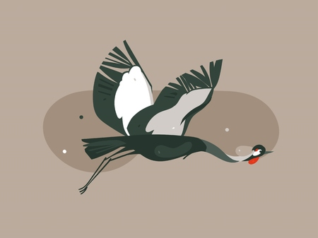 Hand drawn vector abstract cartoon modern graphic African Safari Nature concept illustrations art with flying Crane bird isolated on pastel color background. Banque d'images - 116845568