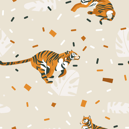 Hand drawn vector abstract cartoon modern graphic African Safari Nature illustrations art collage seamless pattern with tigers isolated on color brown background.