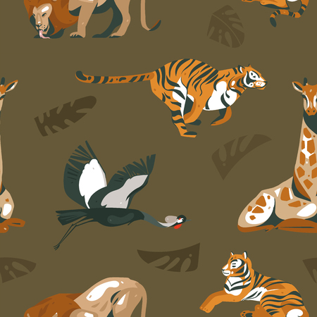 Hand drawn vector abstract modern graphic African Safari Nature ornamental tribal illustrations art collage seamless pattern with tigers,lion,crane bird and palm leaves isolated on green background Illustration