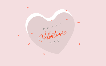 Hand drawn vector abstract cartoon modern graphic Happy Valentines day concept illustrations art card with simple hearts shapes and Happy Valentines daty text isolated on colored background Imagens - 115608903