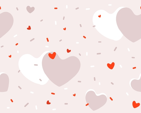 Hand drawn vector abstract cartoon modern graphic Happy Valentines day concept illustrations art seamless pattern with simple hearts shape isolated on pink pastel color background