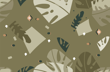 Hand drawn vector abstract modern graphic Tropical Nature ornamental tribal illustrations art collage seamless pattern with palm leaves isolated on green background.