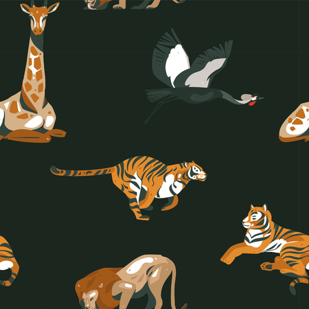 Hand drawn vector abstract cartoon modern graphic African Safari Nature illustrations art collage seamless pattern with tigers,lion and crane bird isolated on black background Иллюстрация