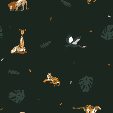 Hand drawn vector abstract cartoon modern graphic African Safari Nature illustrations art collage seamless pattern with tigers,lion,crane bird and tropical palm leaves isolated on black background. Archivio Fotografico - 115457317