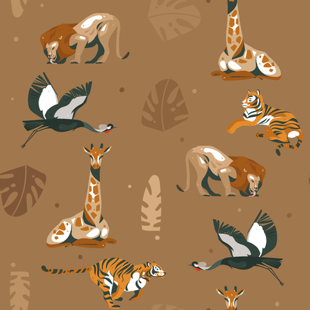 Hand drawn vector abstract modern graphic African Safari Nature ornamental tribal illustrations art collage seamless pattern with tigers,lion,crane bird and palm leaves isolated on brown background. Standard-Bild - 116845583