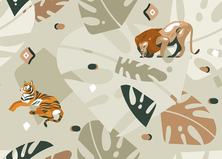Hand drawn vector abstract modern graphic African Safari Nature ornamental tribal illustrations art collage seamless pattern with tigers,lion and palm leaves isolated on pastel background Иллюстрация