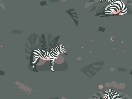 Hand drawn vector abstract modern graphic African Safari Nature ornamental tribal illustrations art collage seamless pattern with zebra animals and tropical palm leaves isolated on pastel background.