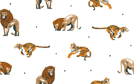 Hand drawn vector abstract modern graphic African Safari Nature ornamental illustrations art collage seamless pattern with tigers and lion animals isolated on white background