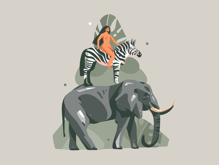 Hand drawn vector abstract cartoon modern graphic African Safari Nature concept collage illustrations art print with zebra,elephant animals and nude wild woman character isolated on pastel background
