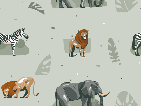 Hand drawn vector abstract modern graphic African Safari Nature ornamental illustrations art collage seamless pattern with zebra,elephant,lion and tropical palm leaves isolated on pastel background