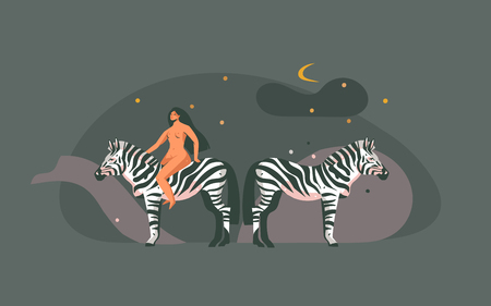 Hand drawn vector abstract cartoon modern graphic African Safari Nature concept collage illustrations art print with zebra animals and nude wild women character isolated on dark color background Illustration